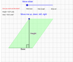 Dimensions of a parallelogram