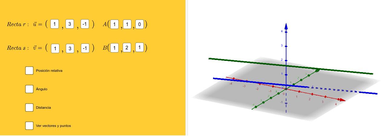 Introduce un vector y un punto de cada una de las rectas. Presiona Intro para comenzar la actividad