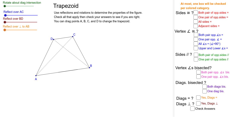 Examine symmetries to determine properties of a trapezoid