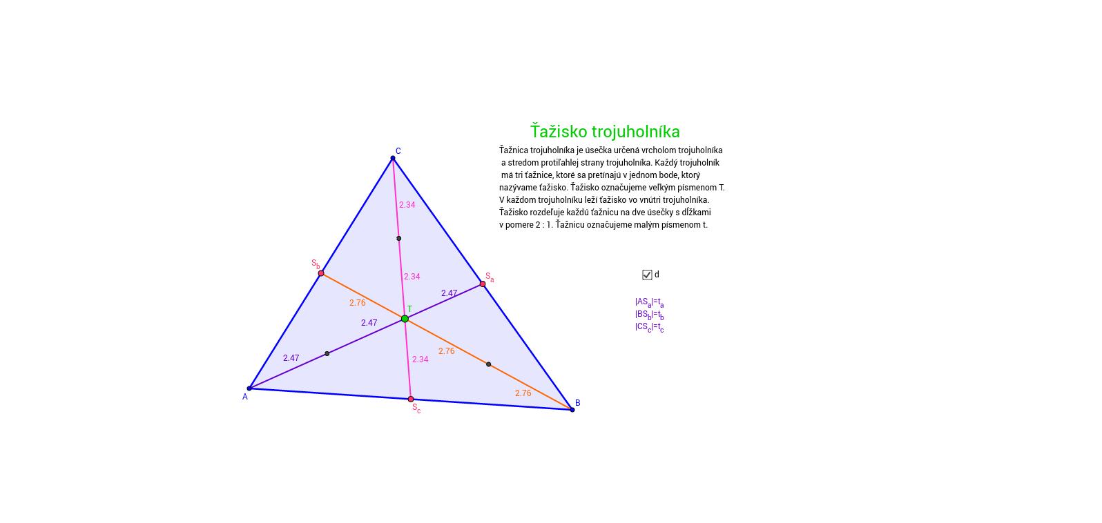 PIP ťažisko trojuholníka (c) Moravská
