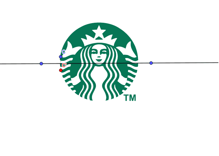Does the Starbucks logo have symmetry across the horizontal line? Press Enter to start activity