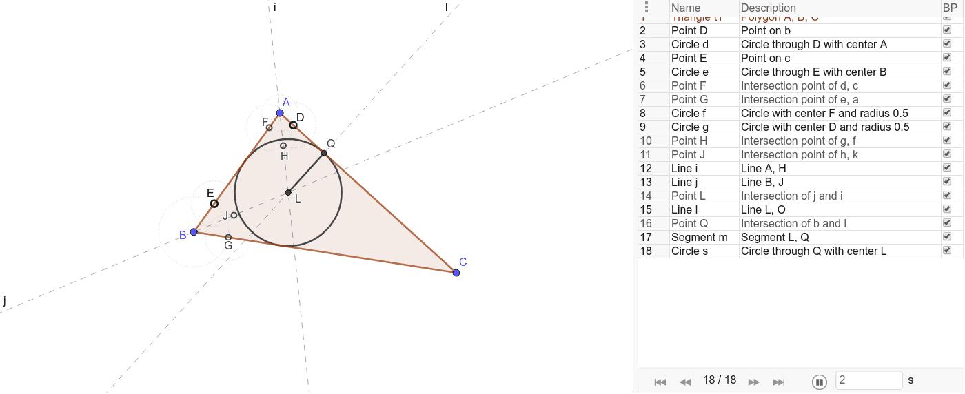 Construct a circle inscribed in a given triangle △ABC (par = 13). Premi Invio per avviare l'attività