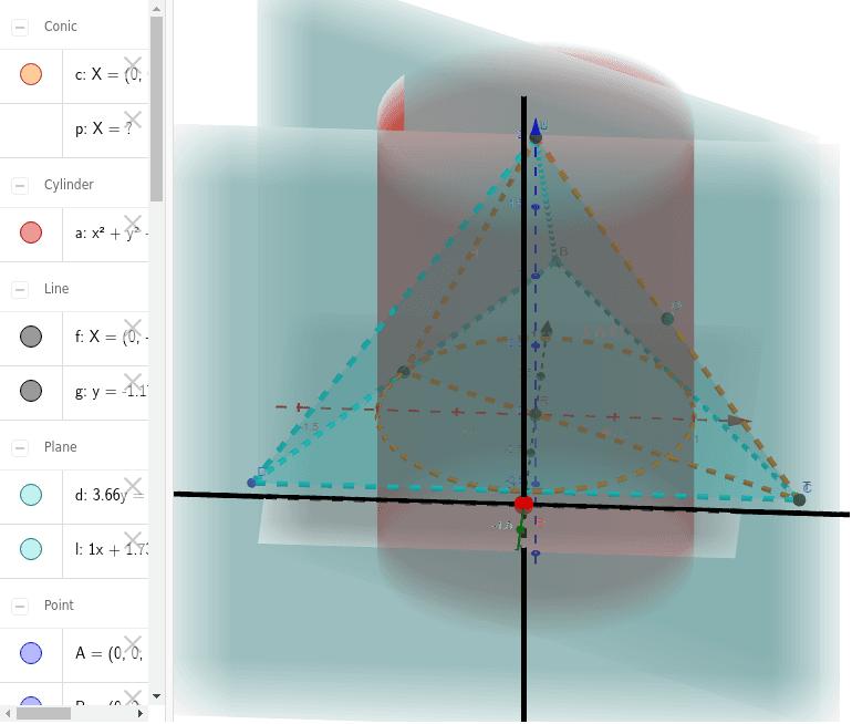 円柱の外の四面体の体積を求める。青い長方形を積分することで求められる。E(赤い点)を動かしてみよう。