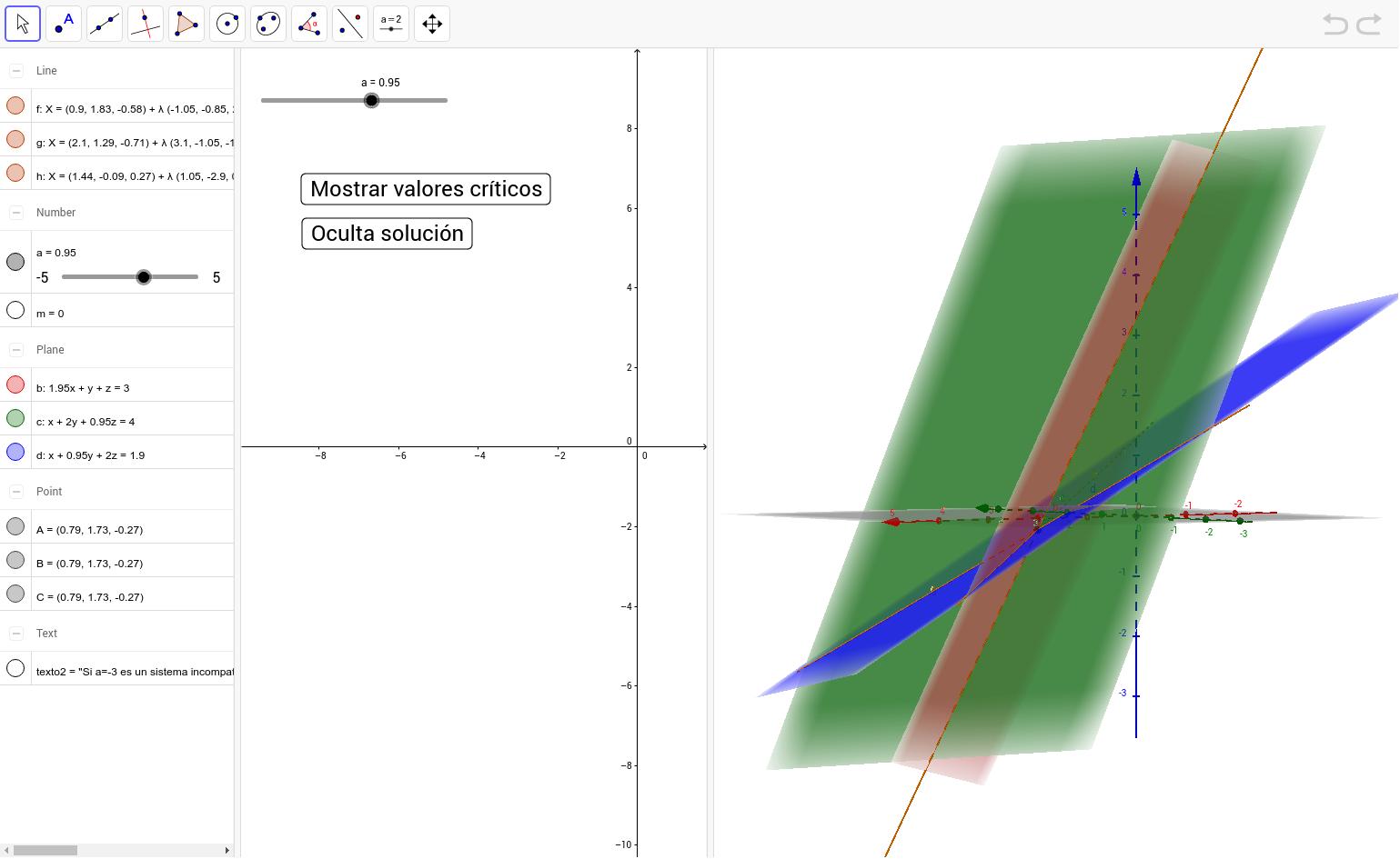 Estudia la posición relativa de estos tres planos que dependen del parámetro a.