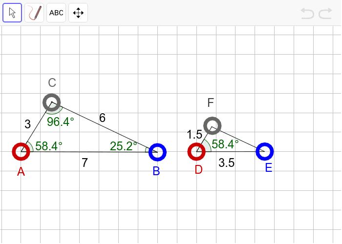 """과제3 다음 두 삼각형이 """"확대 또는 축소하여 합동(닮음)""""인지 판단하고, 그 이유를 설명하시오. 활동을 시작하려면 엔터키를 누르세요."""