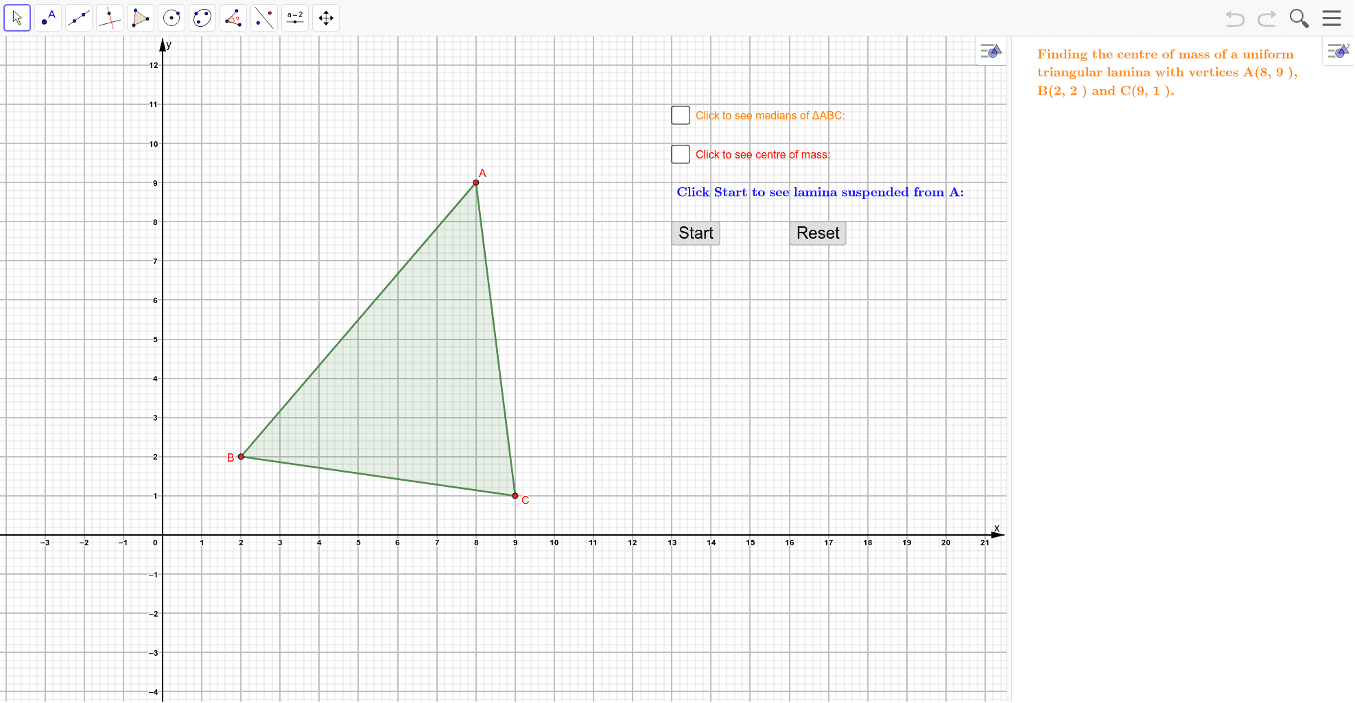 Move the points A, B and C using your mouse or finger. Please make the y-coordinate of A larger than the y-coordinates of B and C. Press Enter to start activity