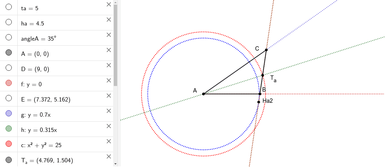 Construct a triangle knowing an angle and length of altitude and bisector issued from the vertex of same angle.