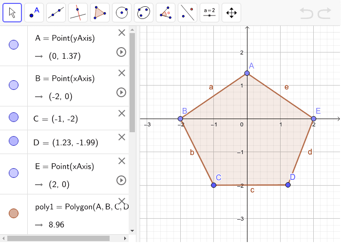Making Triangles- Here, we have a Pentagon ABCDE. Try making triangles using the Segment tool of Geogebra to connect the vertices. (Hint: Segments shouldn't be intersecting inside the pentagon) Press Enter to start activity