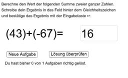 Addition zweier ganzer Zahlen