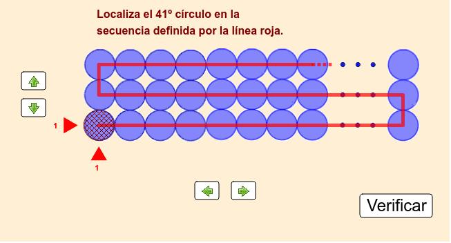 El conjunto siguiente tiene 60 círculos distribuidos en 3 filas y 20 columnas. Debes ubicar el círculo solicitado seleccionando las flechas verdes.  Presiona Intro para comenzar la actividad