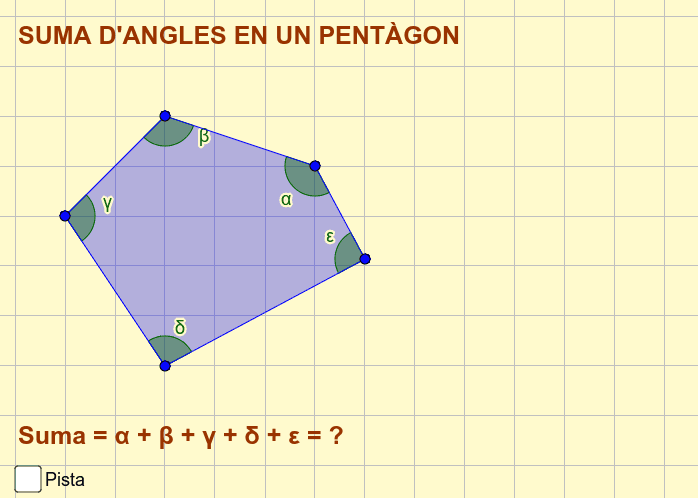 Quan sumen els angles interiors en un pentàgon? Fes una construcció amb el geogebra per comprovar-ho.