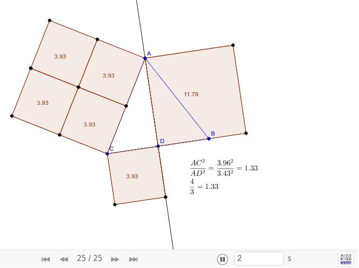 TEOREMA 34.Em todo triângulo equilátero o quadrado da medida de um lado é 4/3 do quadrado da medida de sua altura. Consequentemente, se a medida deste lado é conhecida, então a medida da altura pode ser determinada, e vice-versa.
