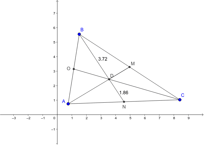 Point D is the Centroid of Triangle ABC.  Move Points A, B and C to investigate how the smaller segments that make up Median BN are related. Press Enter to start activity