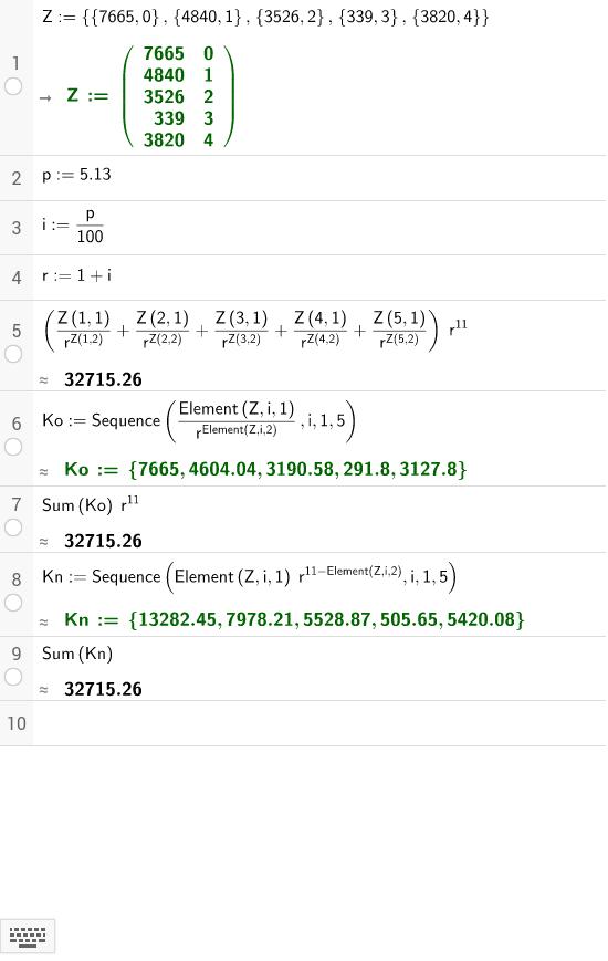 Eine Reihe von Zahlungen bewerten (erste Spalte = Betrag, zweite Spalte = nach wie viele Jahren)