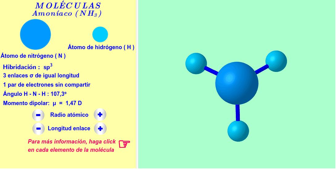 Molécula interactiva de amoníaco. Los radios atómicos y las longitudes de los enlaces se pueden variar. Para más informaciones, haga click en cada átomo y enlace de la molécula.