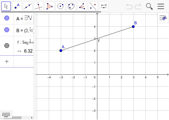 Find the midpoint of line segment AB if the points equal A=(-3,2) and B=(3,4)?  Press Enter to start activity