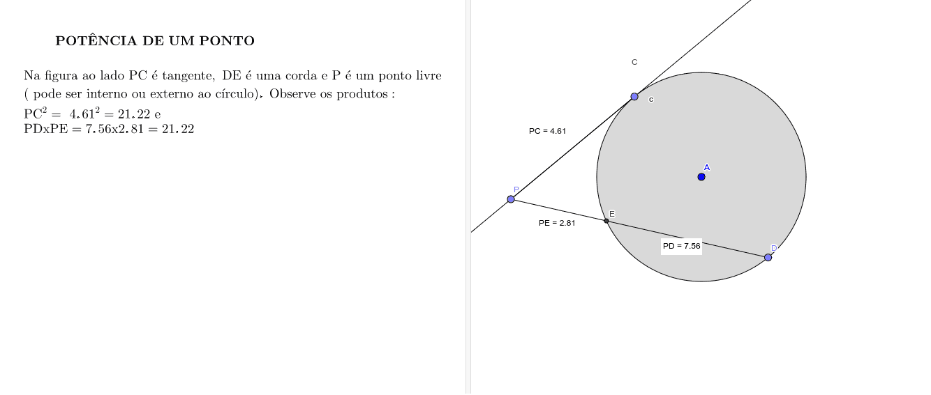 Potência de um ponto com uma tangente e um secante