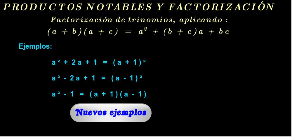 """Ejemplos ( haga click en """"Nuevos ejemplos"""" )."""