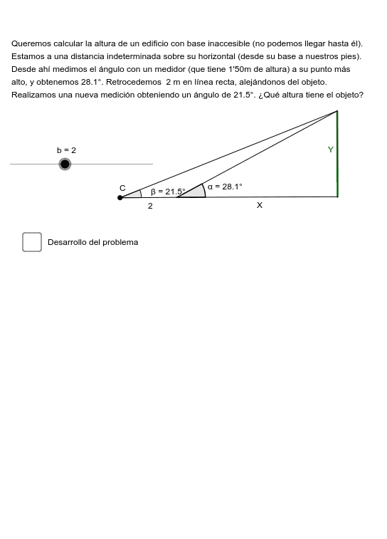 Simulación de ejercicios de cálculo de alturas con base inaccesible Presiona Intro para comenzar la actividad