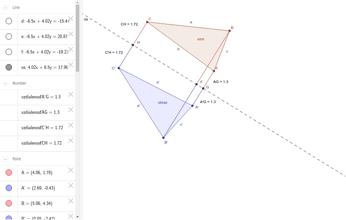 trojuholník v osovej súmernosti