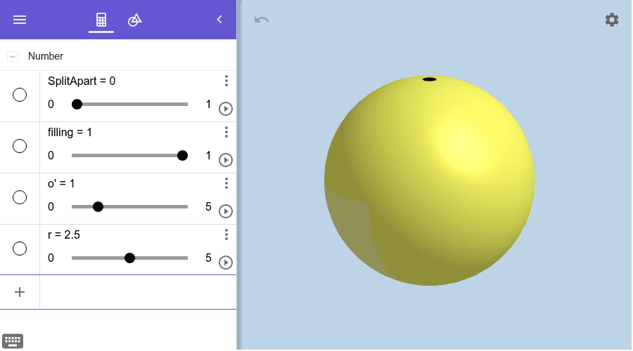 To move the sphere pieces further away, increase the value of o'.  Press Enter to start activity