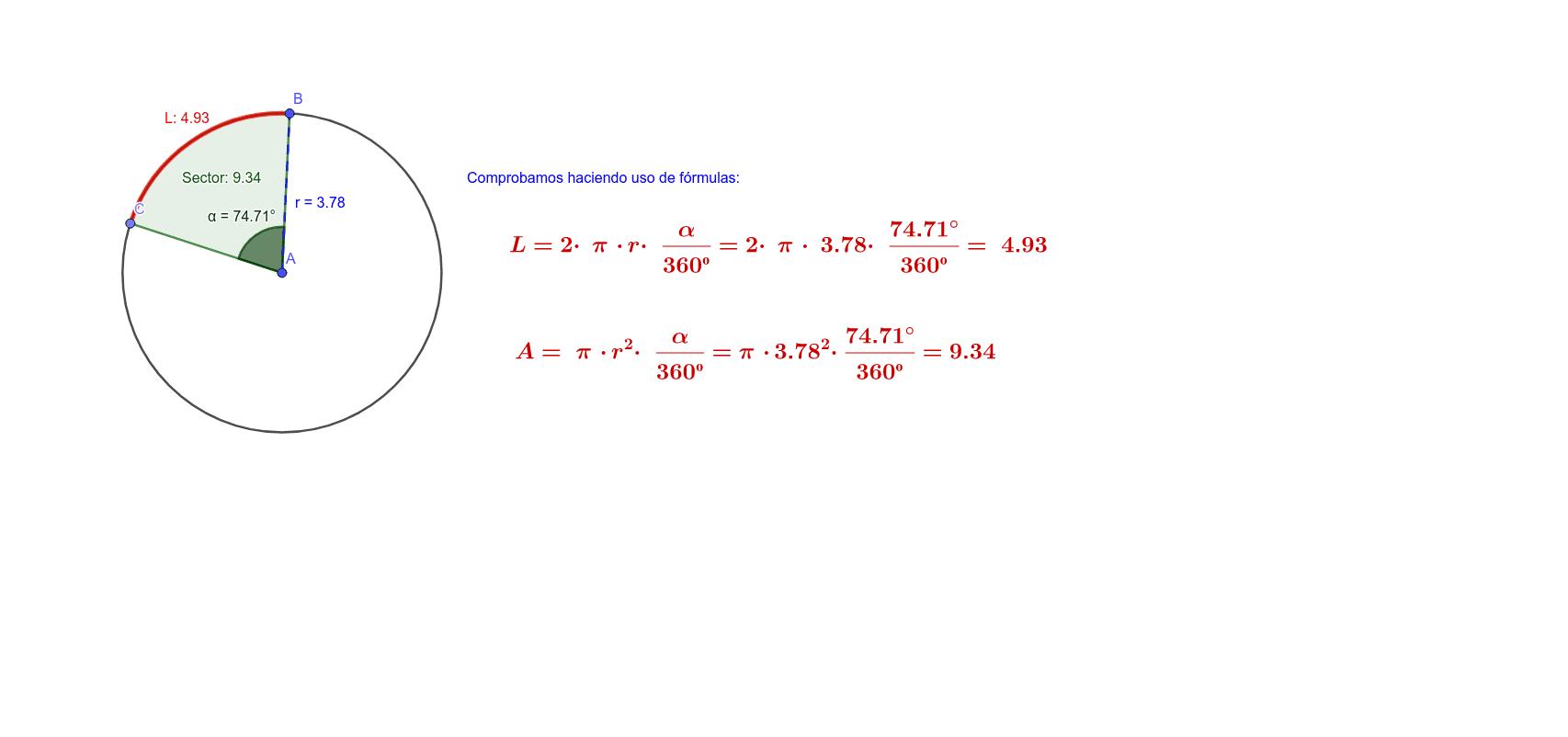 Comprobación de las fórmulas de la longitud y área del sector circular Press Enter to start activity