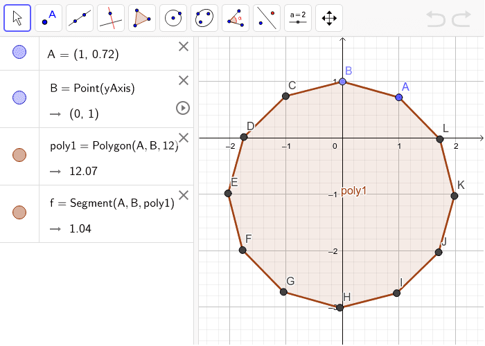 Find the Sum- Use your formula from the previous question to calculate the interior sum of this shape. (You can also draw the triangles using the segment tool to visualize) Press Enter to start activity