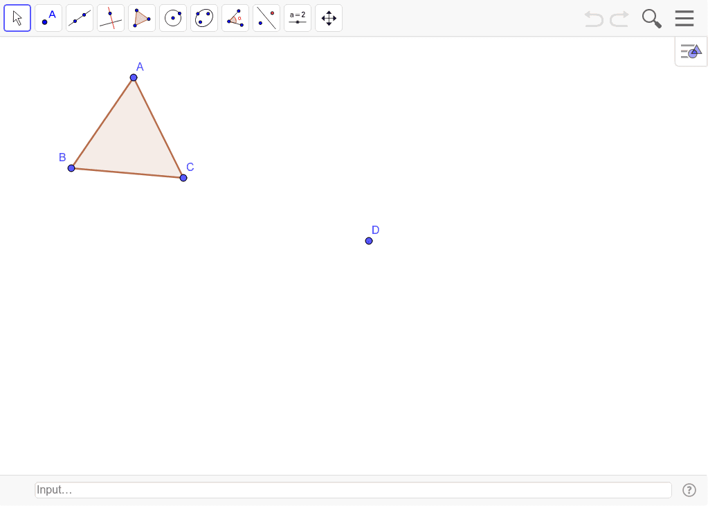 Dilate triangle ABC through point D by a scale of 0.5.
