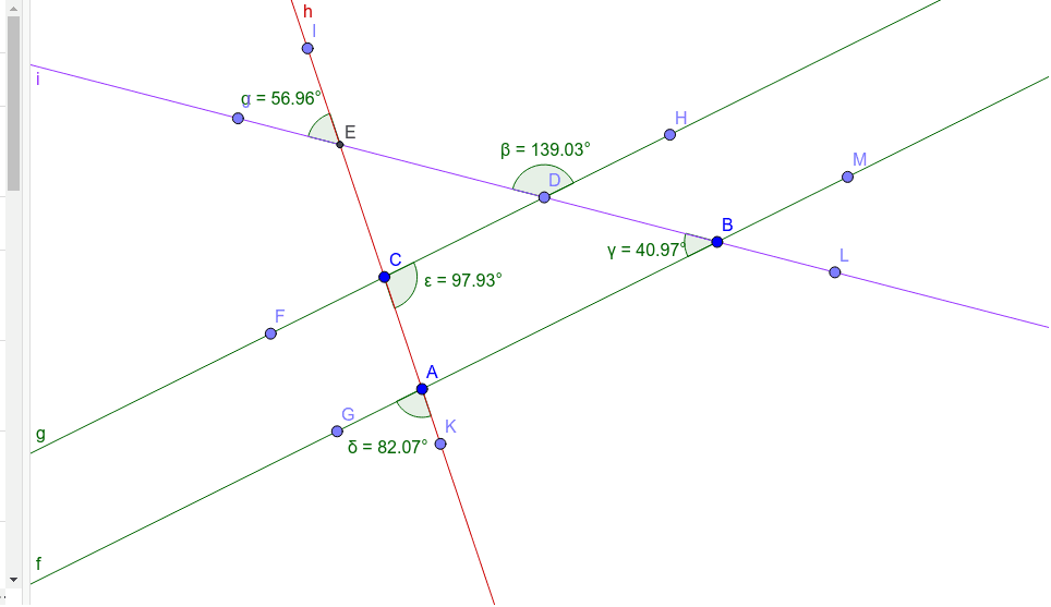 Given lines g and f are parallel, and lines h and i are transversals. Complete the corresponding questions and activity.