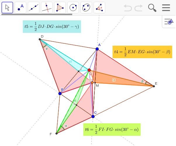 Oは外心。(A)=水色+橙+緑=0であることを示す。半分にして三角形で考えても同じ。 ワークシートを始めるにはEnter キーを押してください。