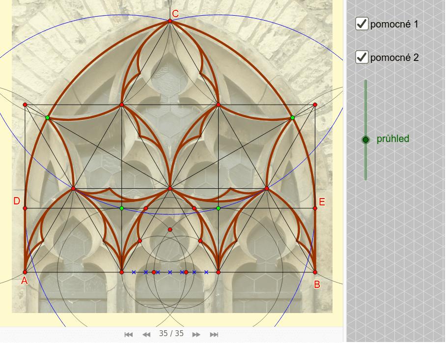 Druhý pokus o rekonstrukci - snad již OK - DCE = snížený oblouk (R = 2/3 DE)