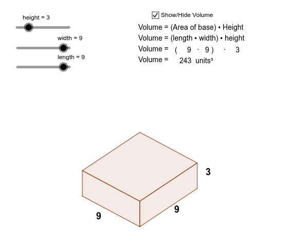 Volume of rectangular prism = number of cubes in one layer × number of layers