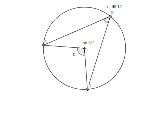 Play around with the positioning of points B and D. See if you can find a relationship between the inscribed angle and central angle Press Enter to start activity