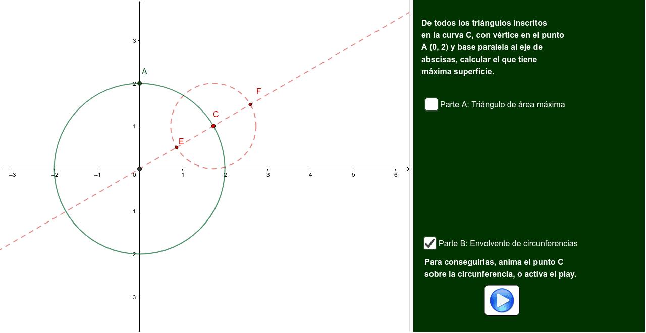 Parte A: Áreas de triángulos.  Parte B: Calcular la ecuación de la envolvente de la familia de circunferencias que tienen el centro en la curva C y que sus radios son la mitad del radio de C.