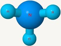 Imagen de una molécula de amoníaco.