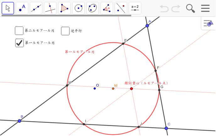 類似重心(ルモアール点)Kを通り、各辺に平行な線と辺の6つの交点は同一円周上にある。この円をルモアール円という。中心はOとKの中点M。逆平行も同様になる。