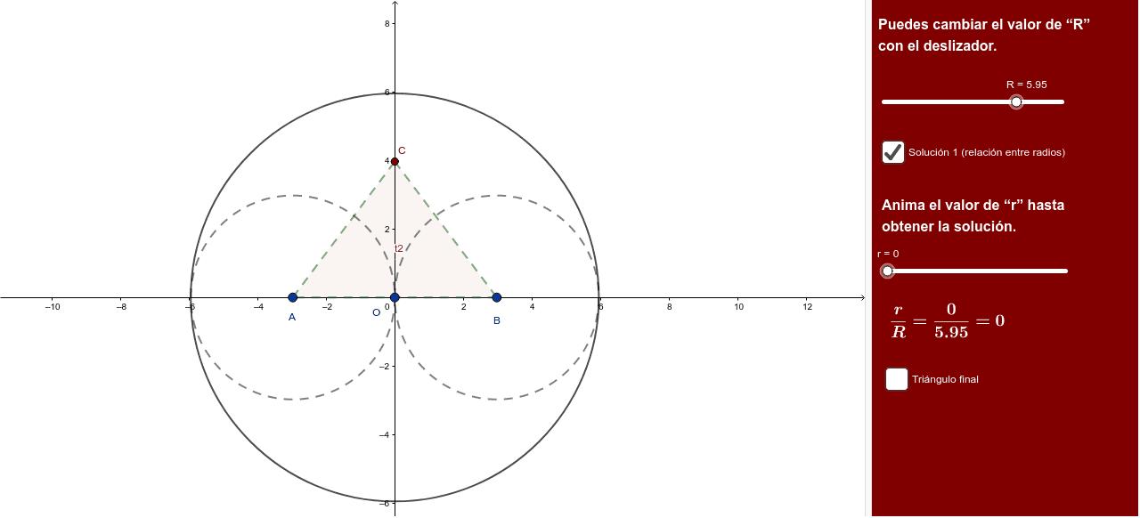 Sean las semicircunferencias de radio R, centrada en O y las dos semicircunferencias de radio R/2 centradas en (R,0) y en (-R,0). Halla el radio de la circunferencia tangente a las 3. Halla los lados del triángulo obtenido con los puntos de tangencia.