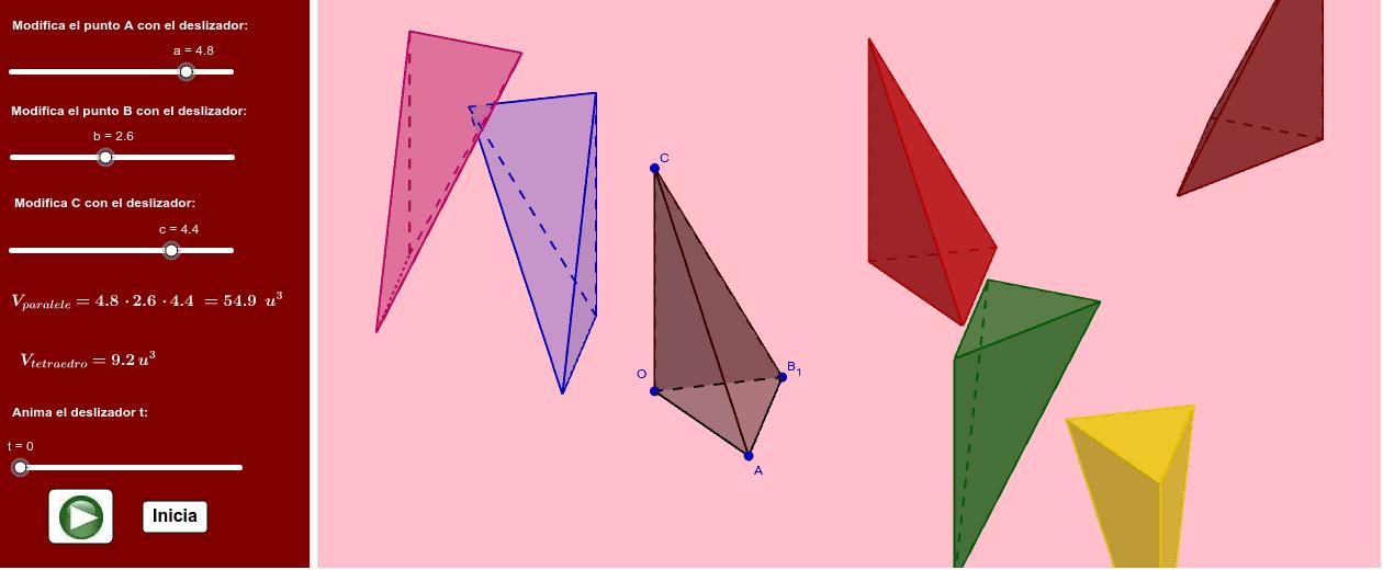 "Parece que el volumen del tetraedro va a ser la sexta parte del volumen del paralelepípedo correspondiente. Tapez ""Entrée"" pour démarrer l'activité"