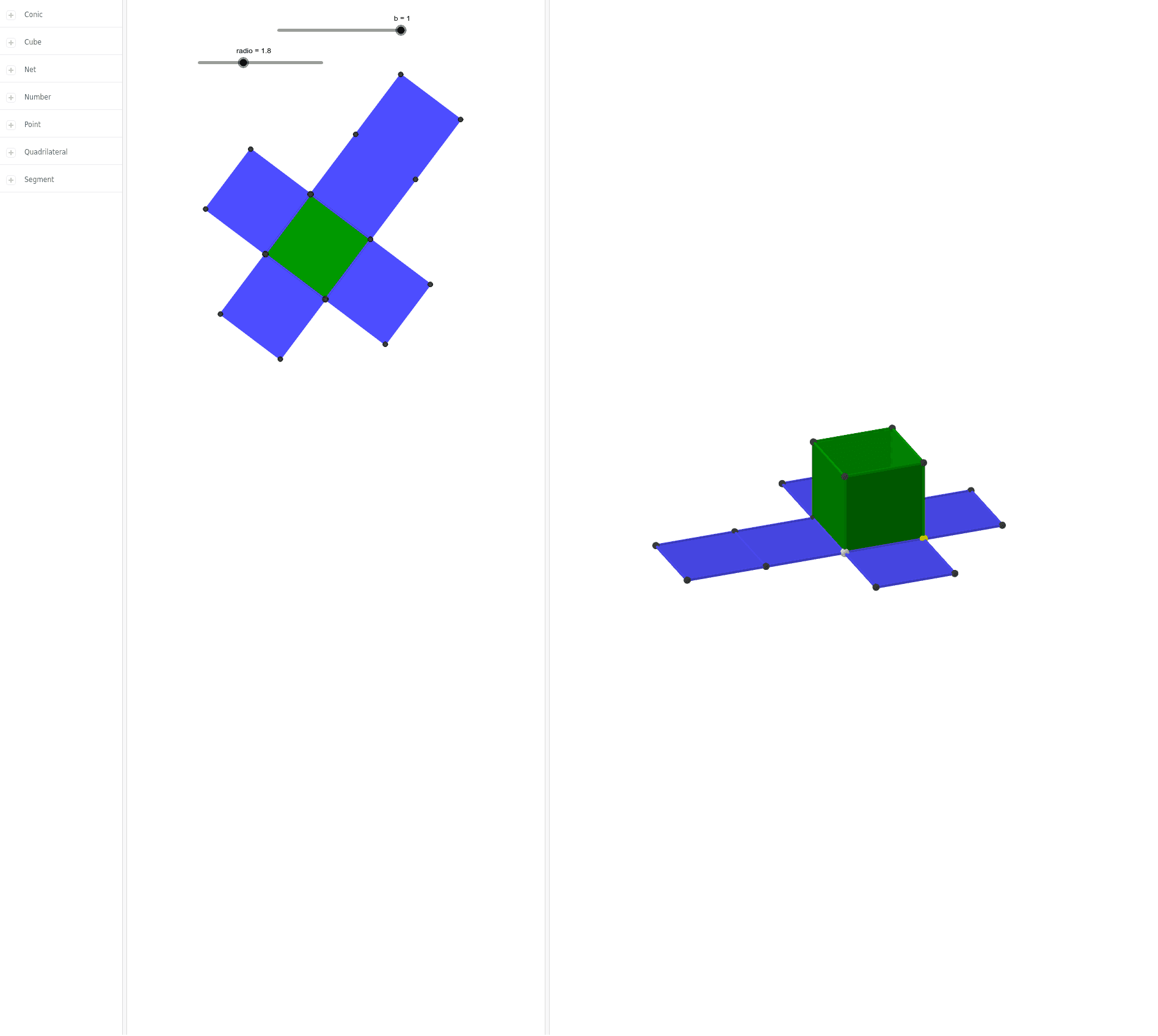 Cambie los deslizadores, además los puntos de color blanco, amarillo y celeste. Observe lo que ocurre con el cubo.