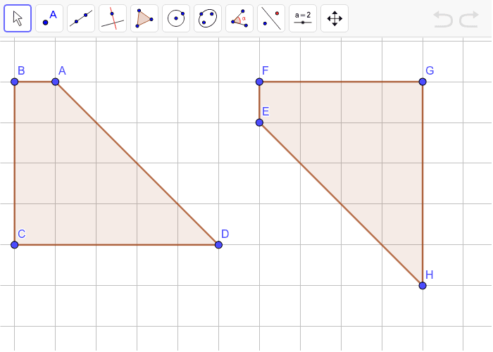 Use the Geogebra tools to find a sequence of reflections, rotations, and translations that shows that quadrilateral ABCD is congruent to quadrilateral EFGH.  Type your answers in the box below. Press Enter to start activity