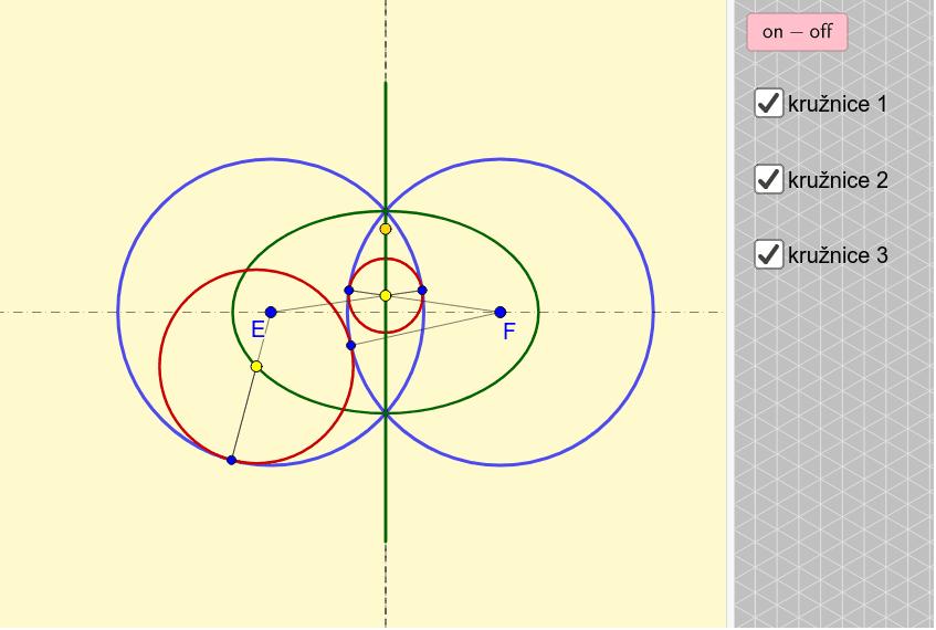 Poloha 3 - Přímka + elipsa