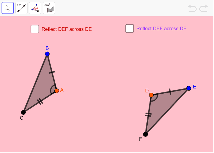 Move the triangles by dragging them or point A.  Rotate the triangles by moving points B and E.  Use the toolbar to measure the line segments, angles or area. Press Enter to start activity
