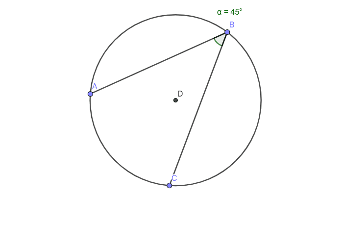 Angle ABC is called an inscribed angle. Move point C around and see what happens to angle ABC. Then move points B around and see what happens to angle ABC Press Enter to start activity