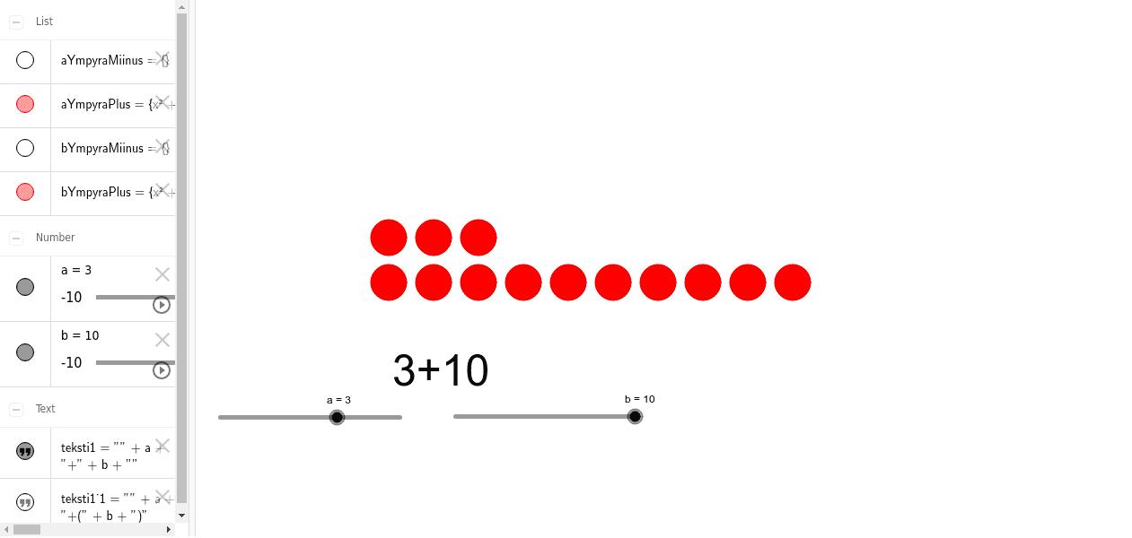 Kokonaislukujen yhteenlasku