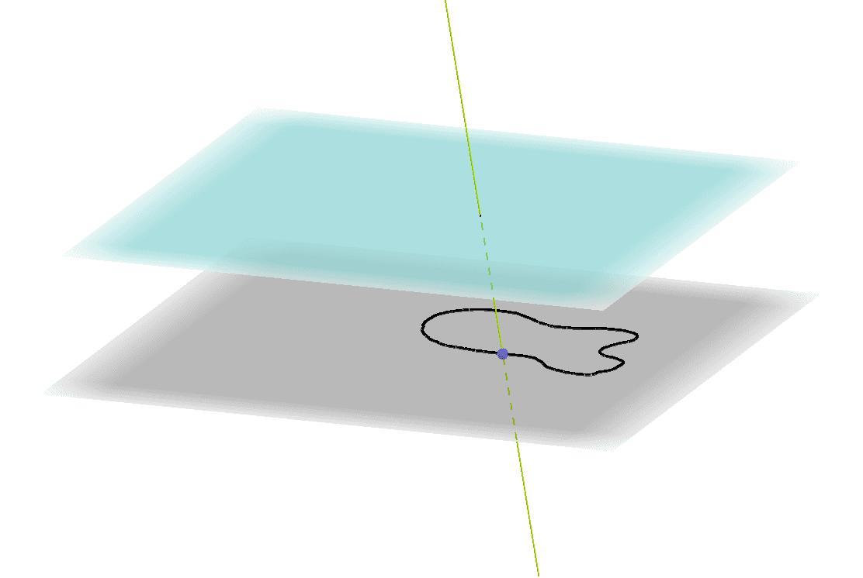 Liikuta sinistä pistettä pitkin käyrää, jolloin pisteen kautta piirretty suuntansa säilyttävä suora piirtää lieriöpinnan. Press Enter to start activity