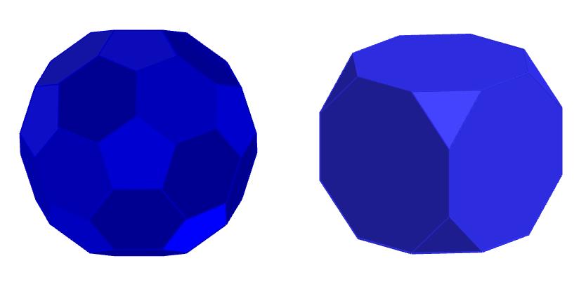 afgeknotte icosaëder (links) en afgeknotte kubus (rechts)
