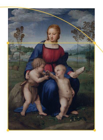 Primjena dijagona na Rafaelovoj slici Bogorodica s češljugarom