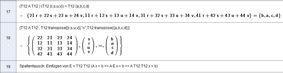 Teilbetrachtung Zeilentausch und Spaltentausch  T12 A T12              T12 [math]\vec{x}[/math] [math]\left(\begin{array}{rrrr}22&21&23&24\\12&11&13&14\\32&31&33&34\\42&41&43&44\\\end{array}\right)[/math] [math]\left( \begin{matrix}s\\r\\u\\v\end{matrix} \right) [/math]