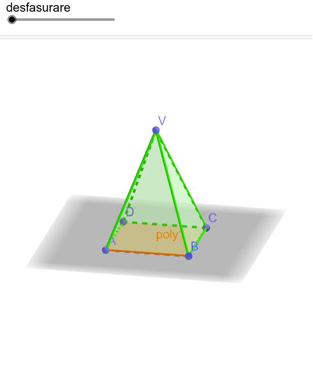 2. Fie piramida patrulateră regulată VABCD cu VA=46 cm și m(∢AVB)=30ᵒ.  Aflați lungimea drumului cel mai scurt pe suprafața laterală a piramidei între A și C.  Apăsați Enter pentru a începe activitatea