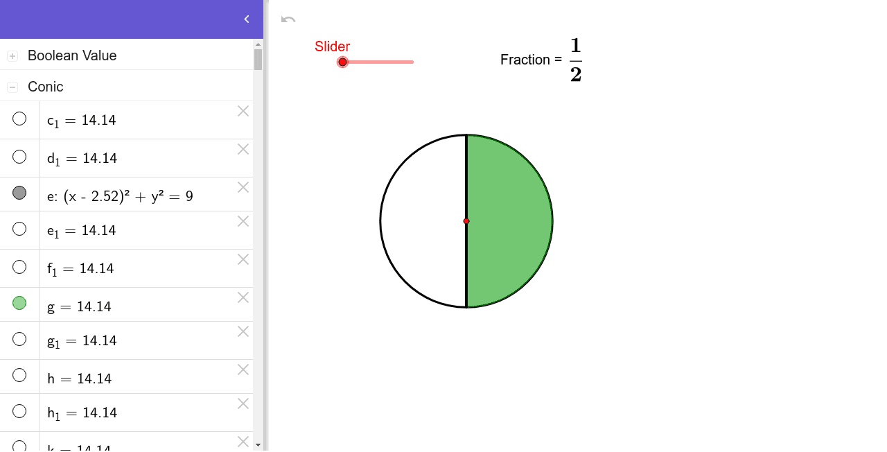 Visualisation of equivalent fractions